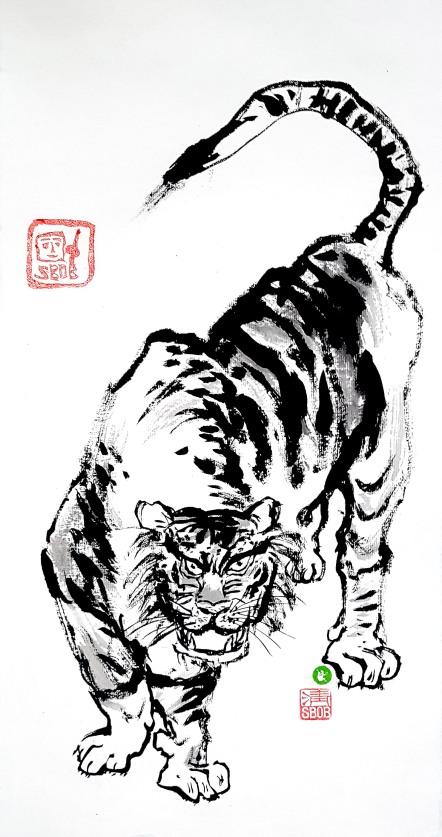 Zenpainting Bob Schneider Tiger ink painting Sumi-e Calligraphy Kalligraphie Tuschmalerei China Korea