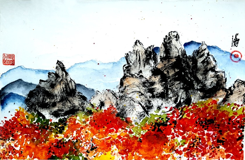 Zenpainting Bob Schneider ink painting Sumi-e