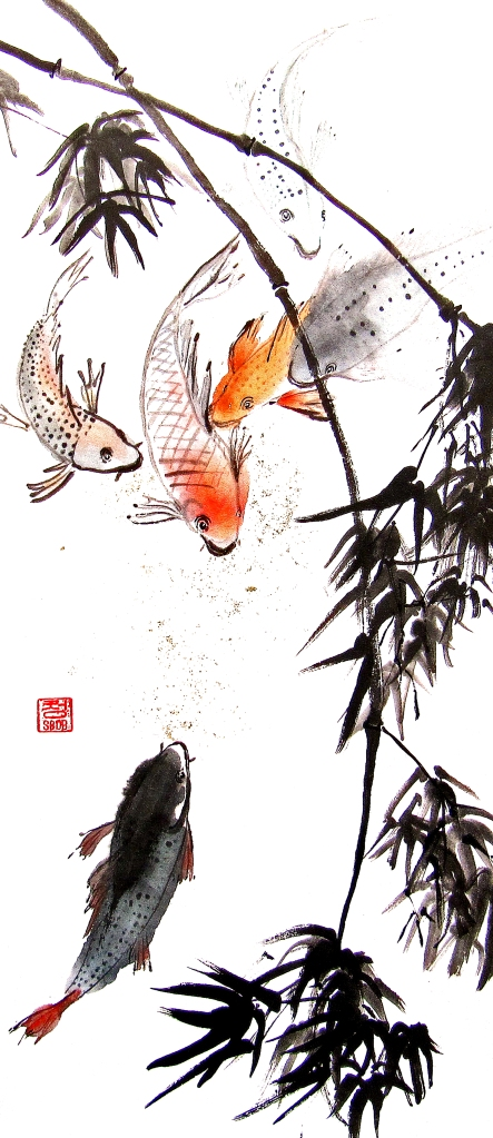 Zenpainting Inidan ink Brush Painting Chinese painting Zen Asian Art Meditation Achtsamkeit Kunst Calligraphy Kalligraphie