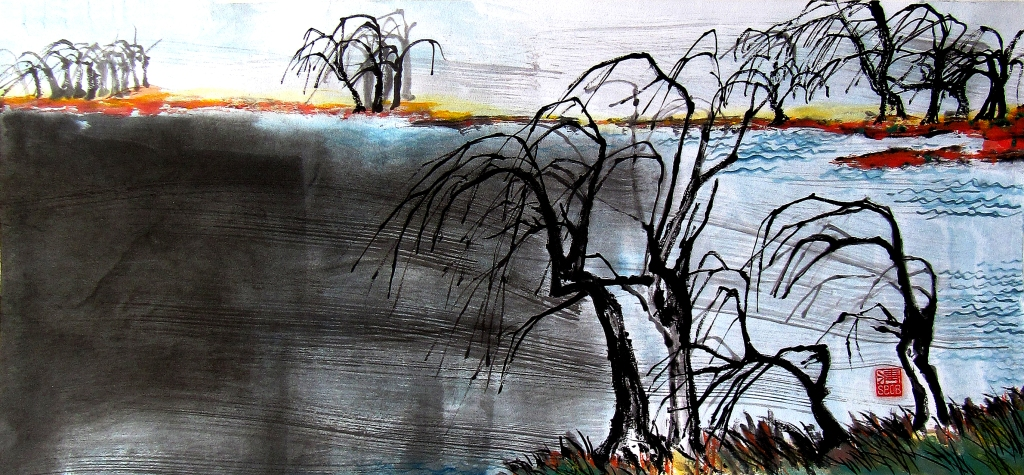 Bob Schneider Berlin Painting ZenZenpainting Inidan ink Brush Painting Chinese painting Zen Asian Art Meditation Achtsamkeit Kunst Calligraphy Kalligraphie