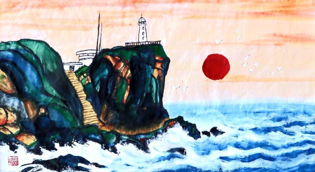 Brandung The surf Chinese Ink painting Calligraphy Bob Schneider
