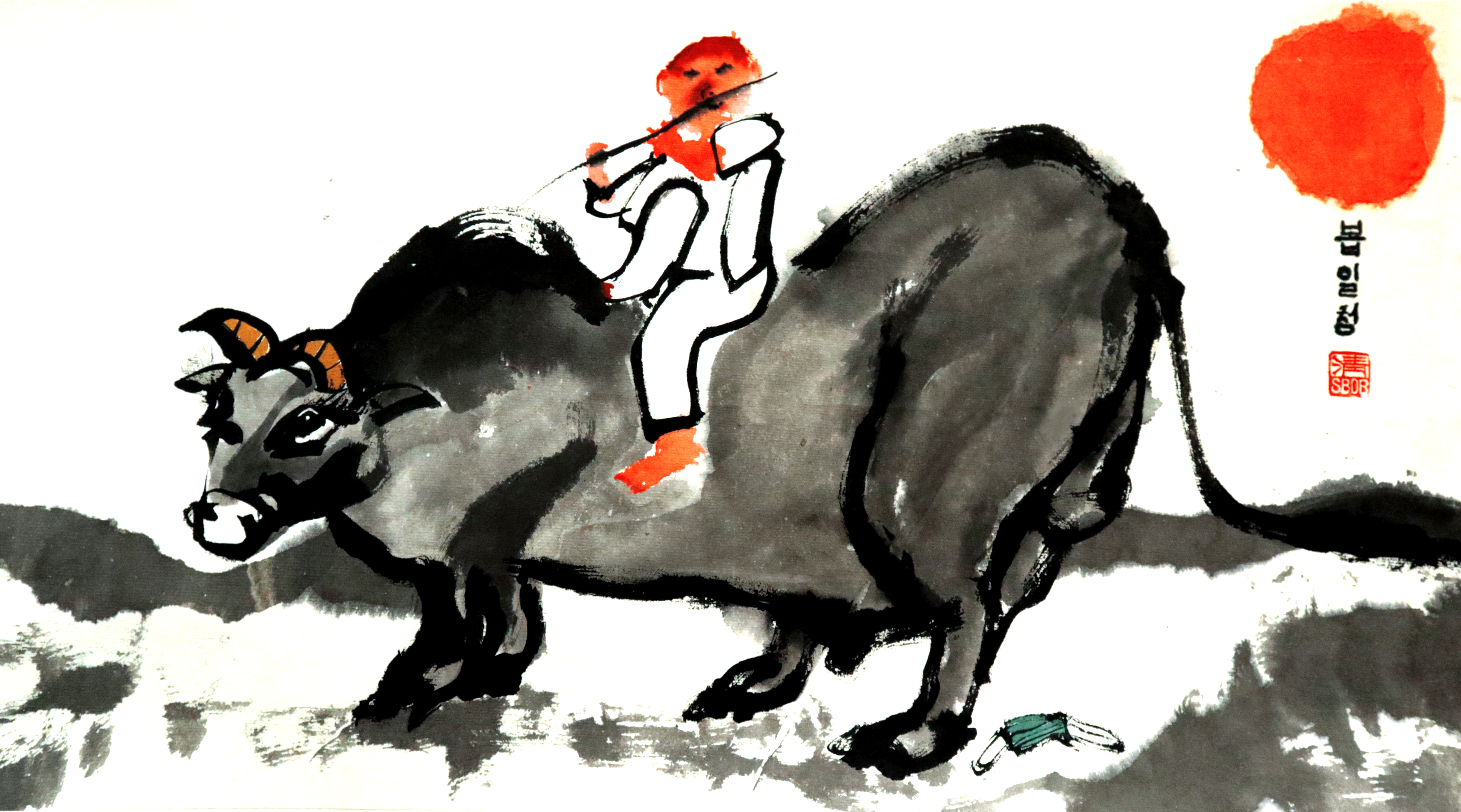 The deceptive summer is a Calligraphy by Bob Schneider Berlina boy is riding an ox and playing the flute. The ox tramples a medical mask